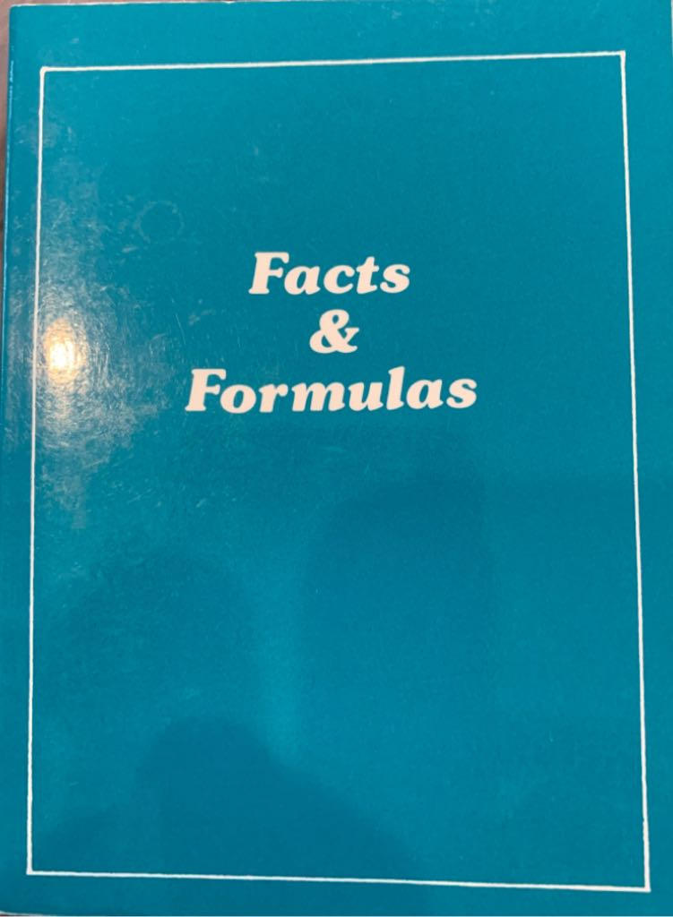 Facts & Formulas - Paperback cover