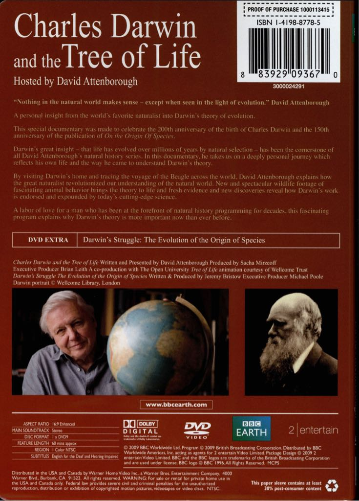 charles darwin and the tree of David attenborough: charles darwin and the tree of life by russell grigg published: 15 october 2015 (gmt+10) this is a tv program and dvd produced by the bbc to mark the 200 th anniversary of the birth of charles darwin (1809–1882) 1 it is presented by sir david attenborough, who follows in the footsteps of his bicentennial.