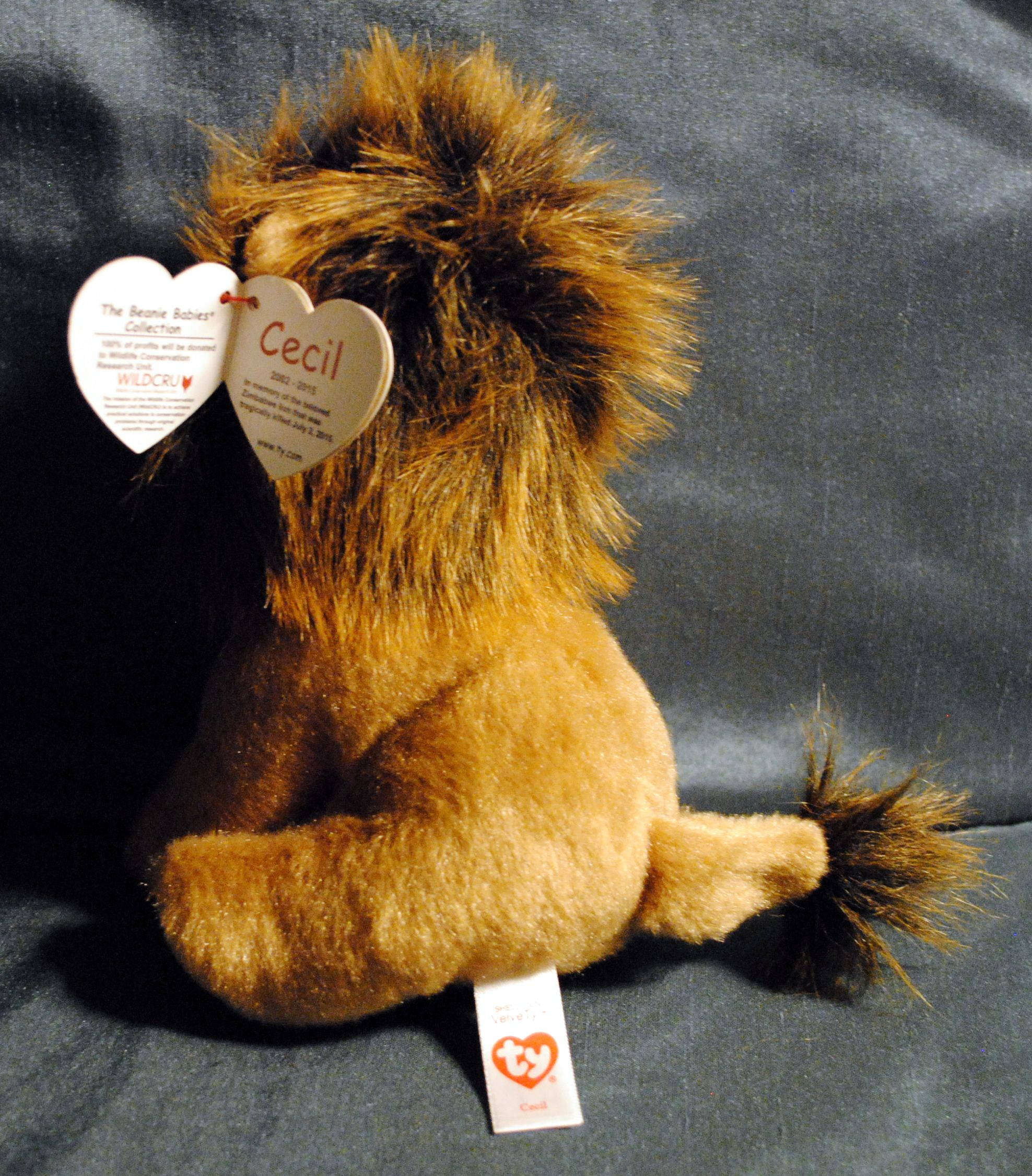 """Ty Original Beanie Babies ❤️ 6"""" Baby Babies Plush Cecil the Lion Action Figure - TY (2015) back image (back cover, second image)"""