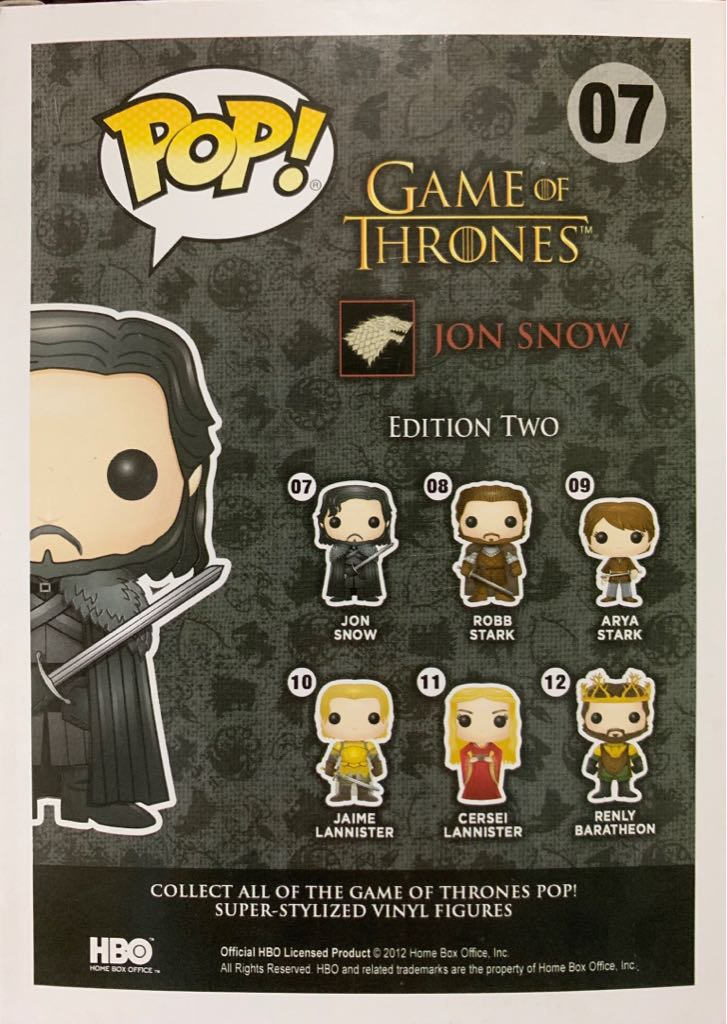Pop! Game Of Thrones: Jon Snow Action Figure - Funko back image (back cover, second image)