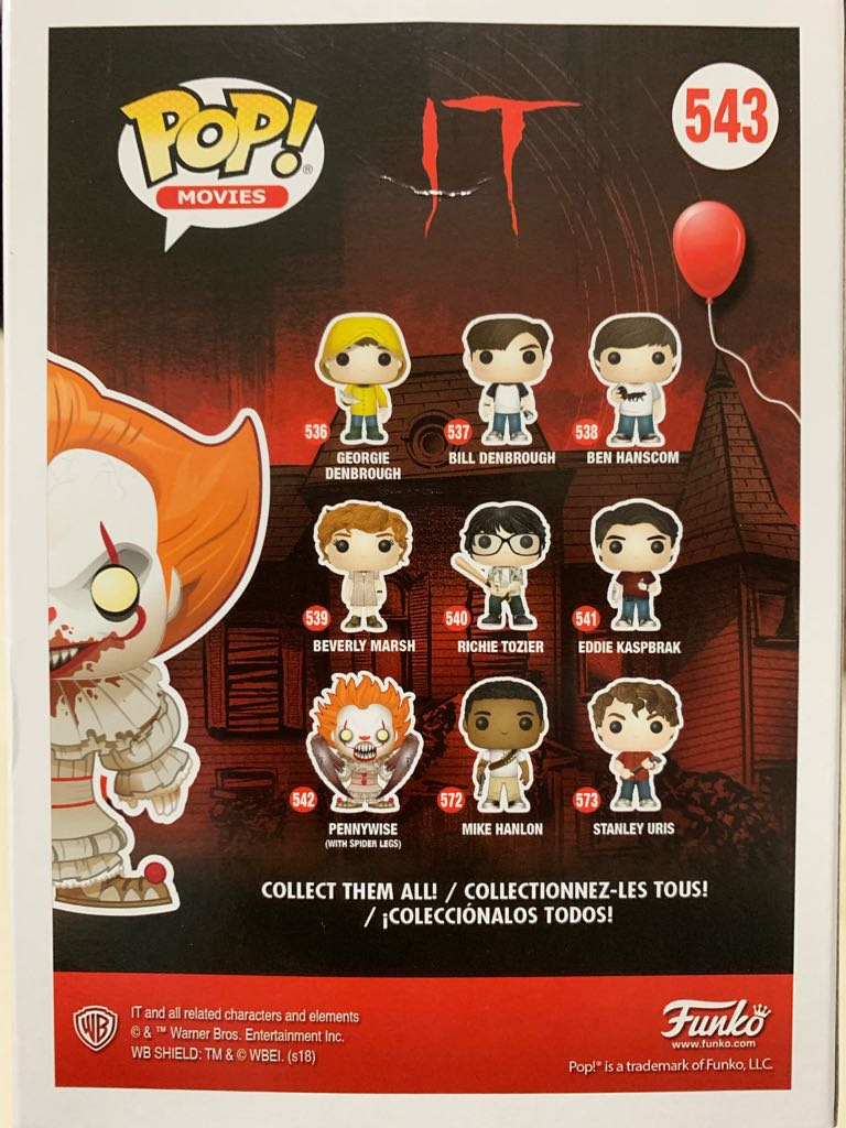 Pop! Movies It: Pennywise With Severed Arm Action Figure - Funko (2018) back image (back cover, second image)
