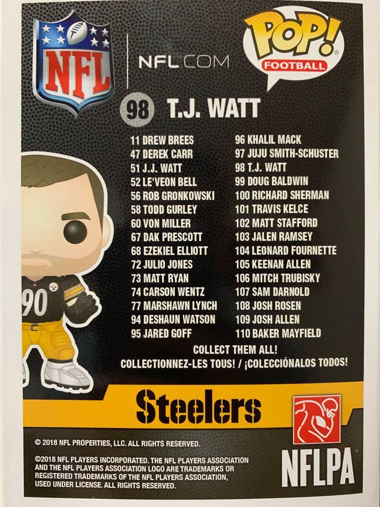 Pop! Football Steelers: T.J. Watt Action Figure - Funko (2018) back image (back cover, second image)