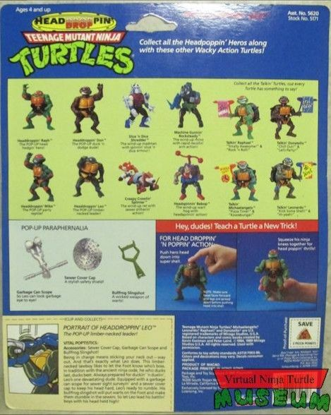 Headdroppin' Leo Action Figure - Playmates Toys (1991) back image (back cover, second image)