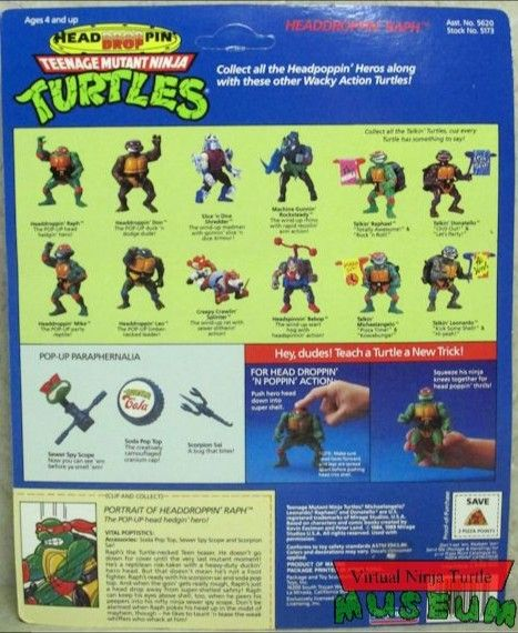 Headdroppin' Raph Action Figure - Playmates Toys (1991) back image (back cover, second image)