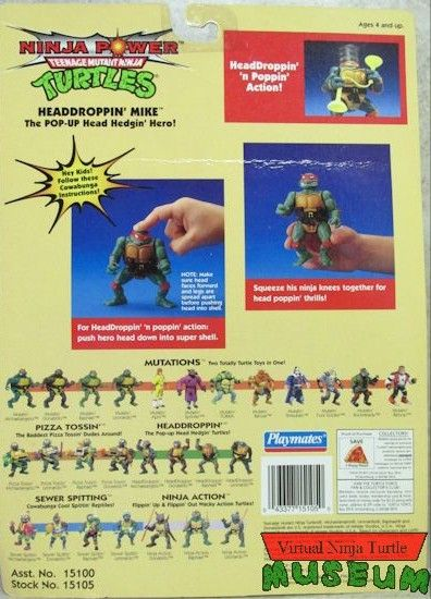 Headdroppin' Mike Action Figure - Playmates Toys (1991) back image (back cover, second image)