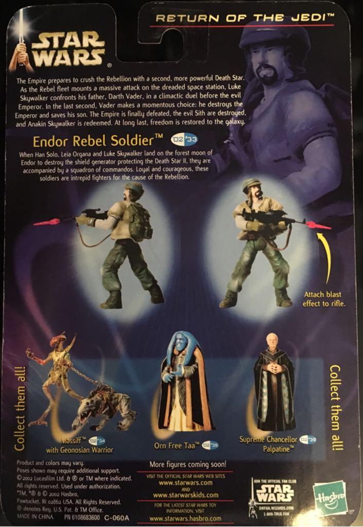 Ep VI ROTJ #33 Endor Rebel Soldier ( No Beard ) Action Figure - Hasbro (2002) back image (back cover, second image)