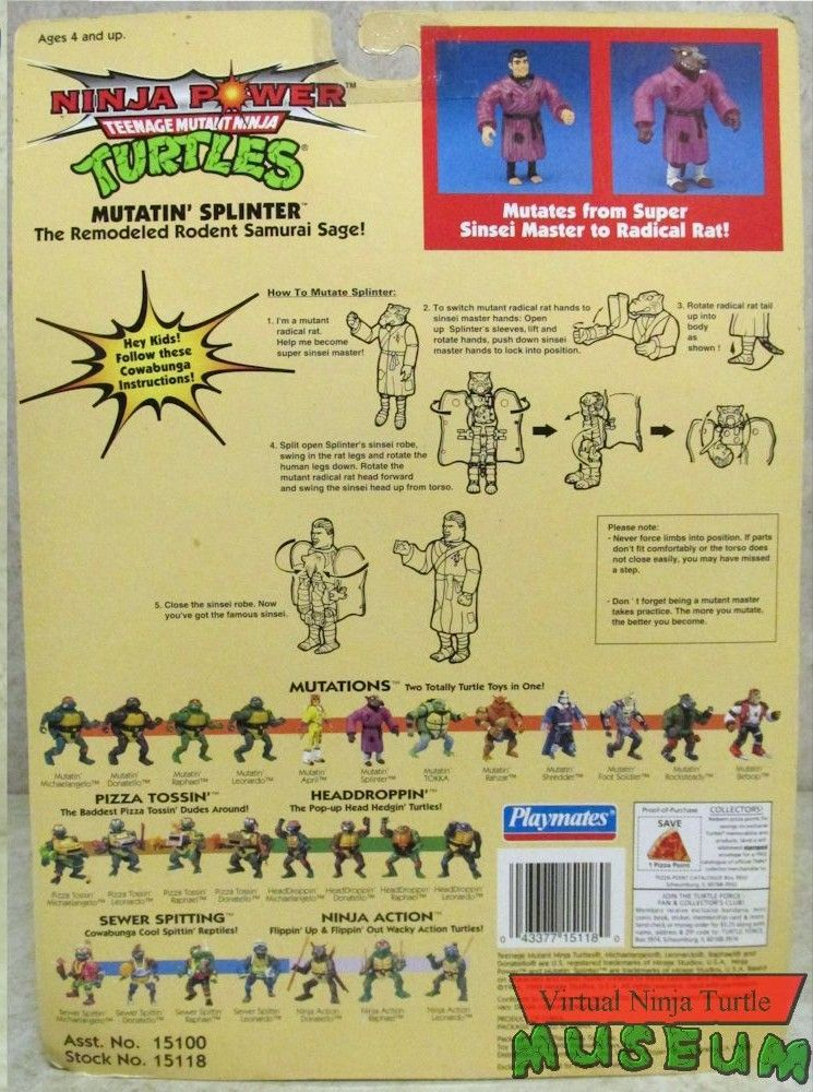 Mutatin' Splinter Action Figure - Playmates Toys (1992) back image (back cover, second image)