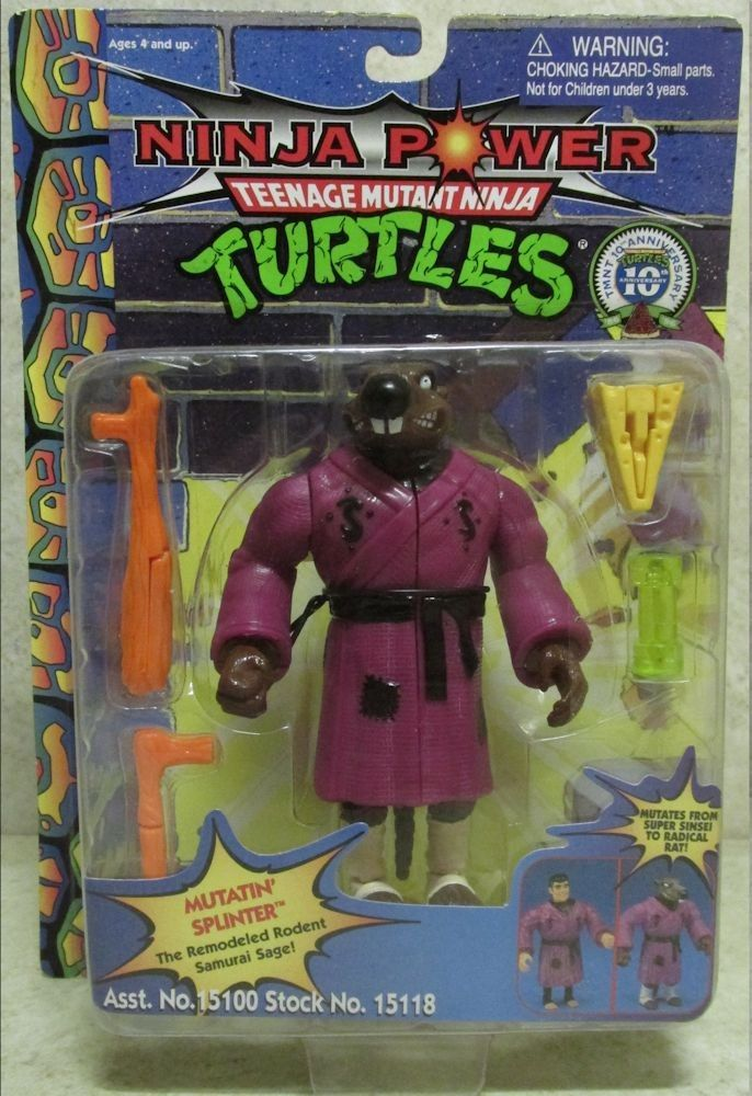 Mutatin' Splinter Action Figure - Playmates Toys (1992) front image (front cover)