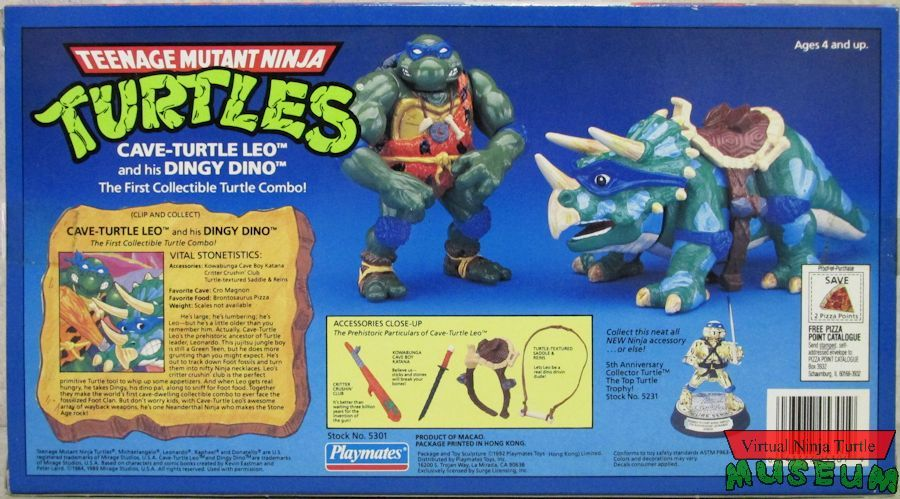 Cave-Turtle Leo Action Figure - Playmates Toys (1992) back image (back cover, second image)
