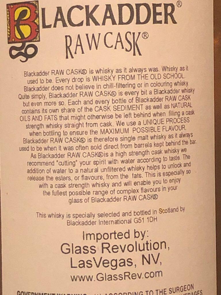 Black adder Peat Reek Raw Cask Alcohol - Blackadder (Islay Single Malt Scotch Whisky) back image (back cover, second image)