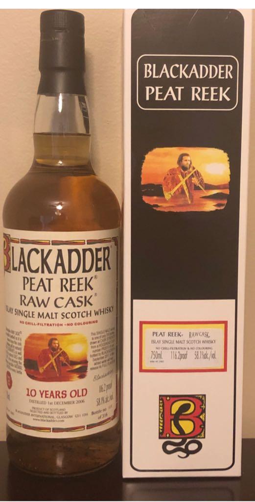Black adder Peat Reek Raw Cask Alcohol - Blackadder (Islay Single Malt Scotch Whisky) front image (front cover)