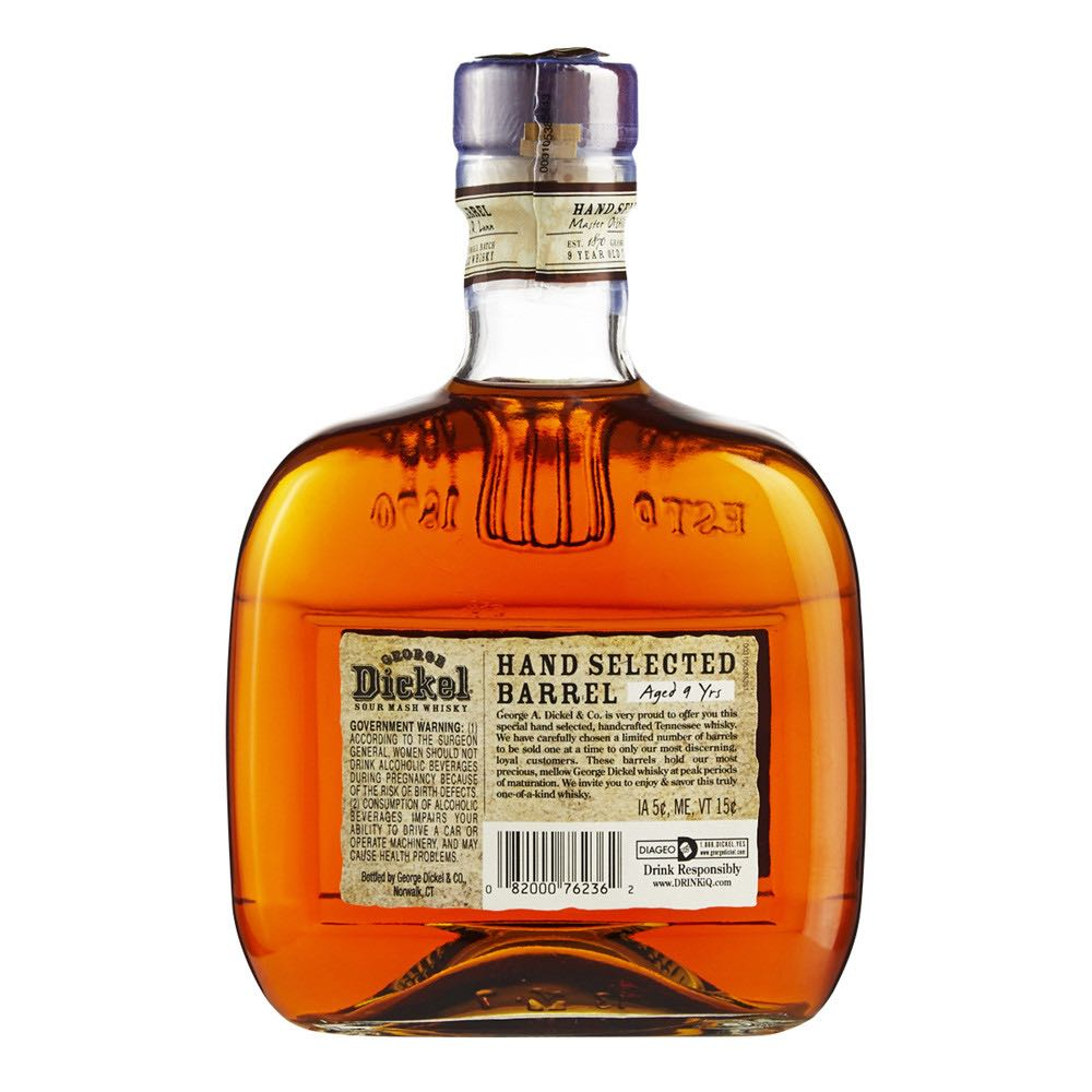 George Dickel Hand Selected Barrel Alcohol - George A Dickel & Co (Tenessee whiskey) back image (back cover, second image)