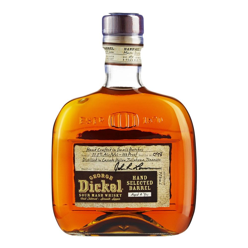 George Dickel Hand Selected Barrel Alcohol - George A Dickel & Co (Tenessee whiskey) front image (front cover)