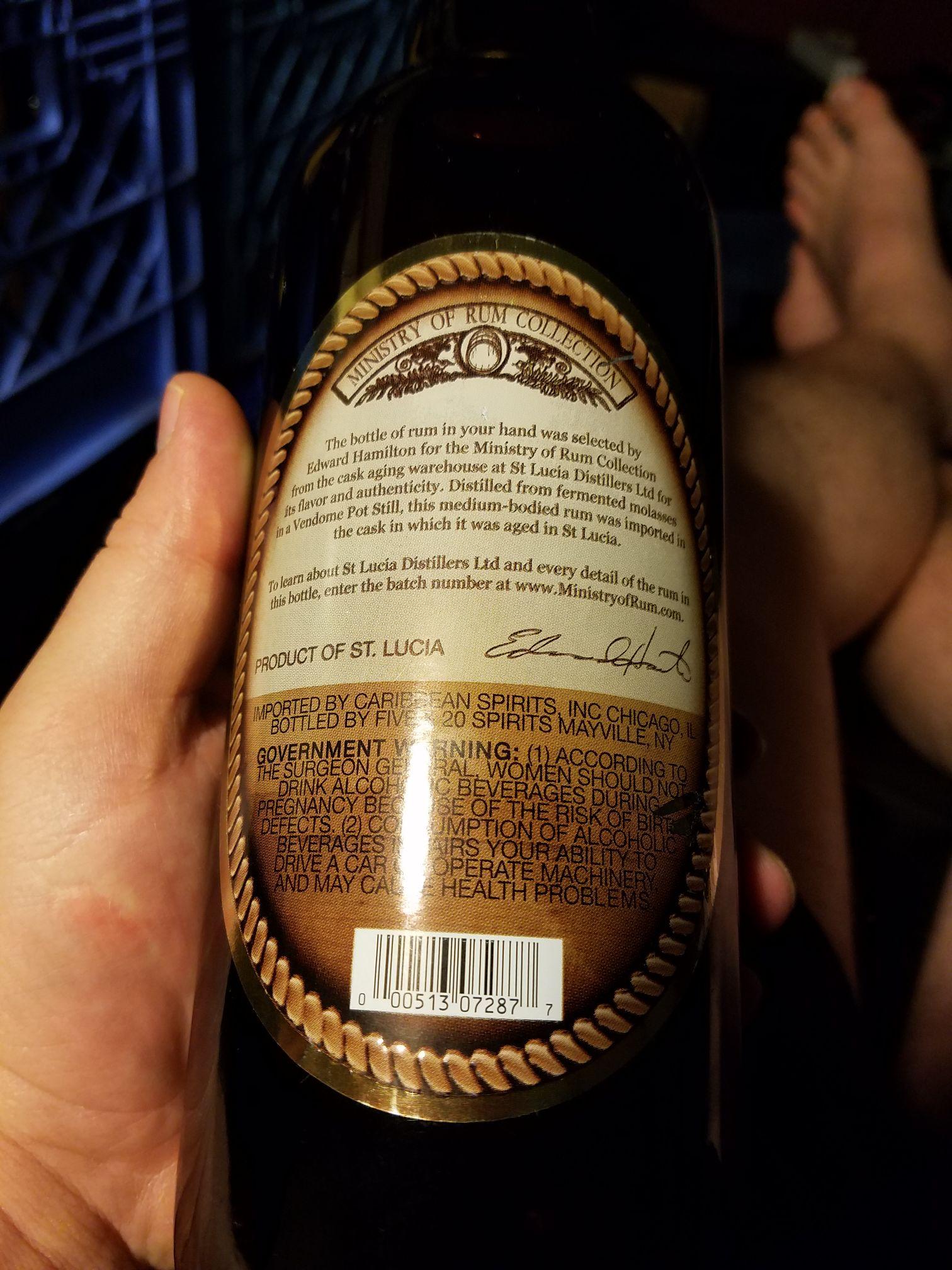 Hamilton Rum Saint Lucian Pot Still Alcohol - St. Lucia Distillers (Rum: St. Lucia) back image (back cover, second image)