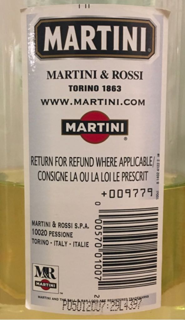 Martini Bianco Alcohol - Martini & Rossi S.P.A. (Vermouth) back image (back cover, second image)