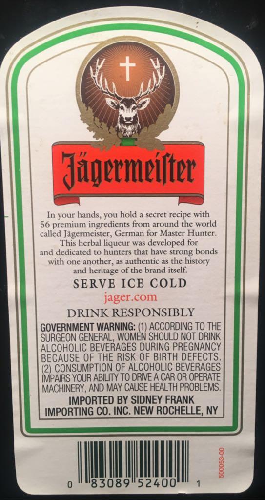 Jagermeister Ingredients
