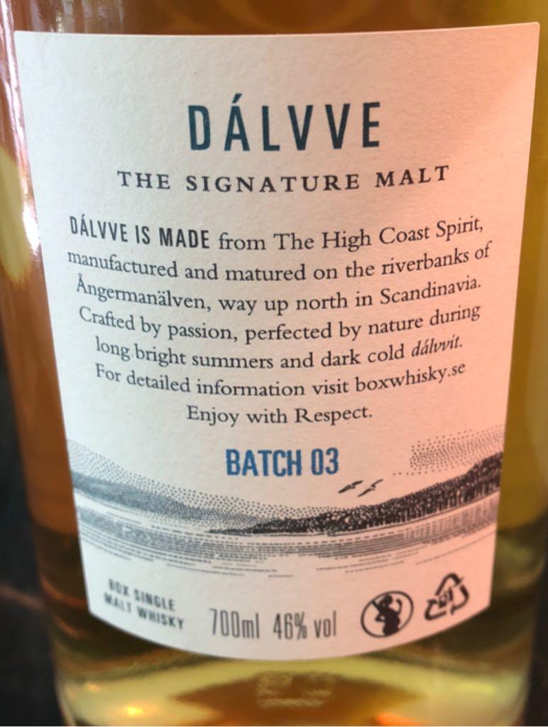 Box Dálvve Alcohol - High Coast Spirit (Single Malt Swedish Whisky) back image (back cover, second image)