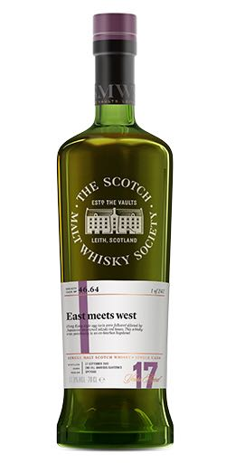 Glenlossie - 17 - SMWS 46.64 East Meets West Alcohol - Glenlossie (Speyside Single Malt Scotch Whisky) front image (front cover)