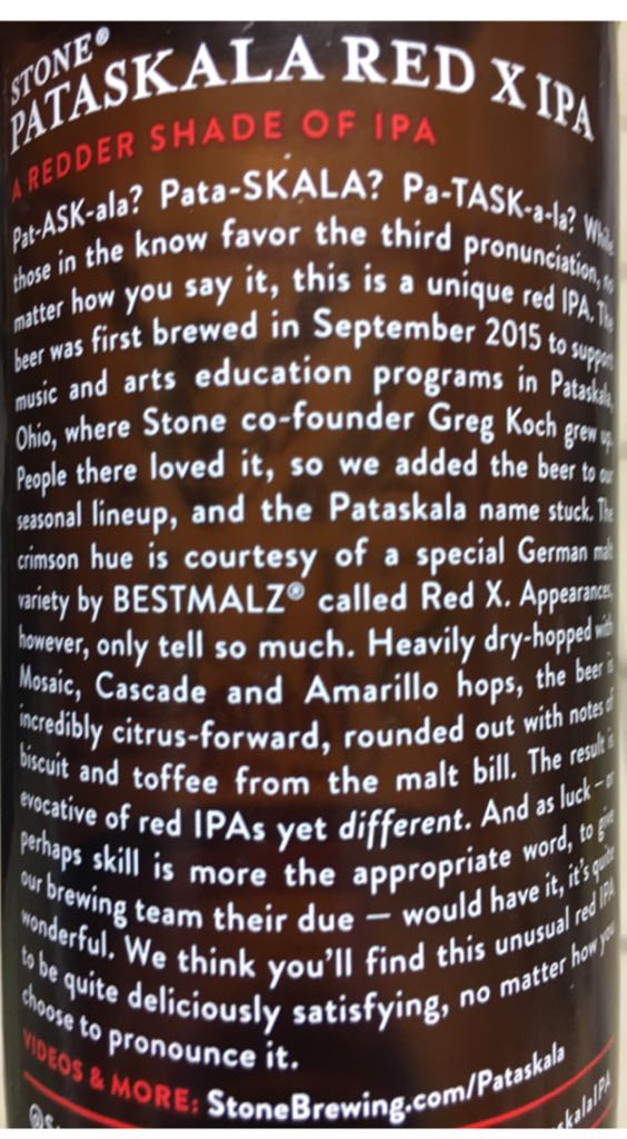 Pataskala Red X IPA Alcohol - Stone Brewing (American IPA) back image (back cover, second image)