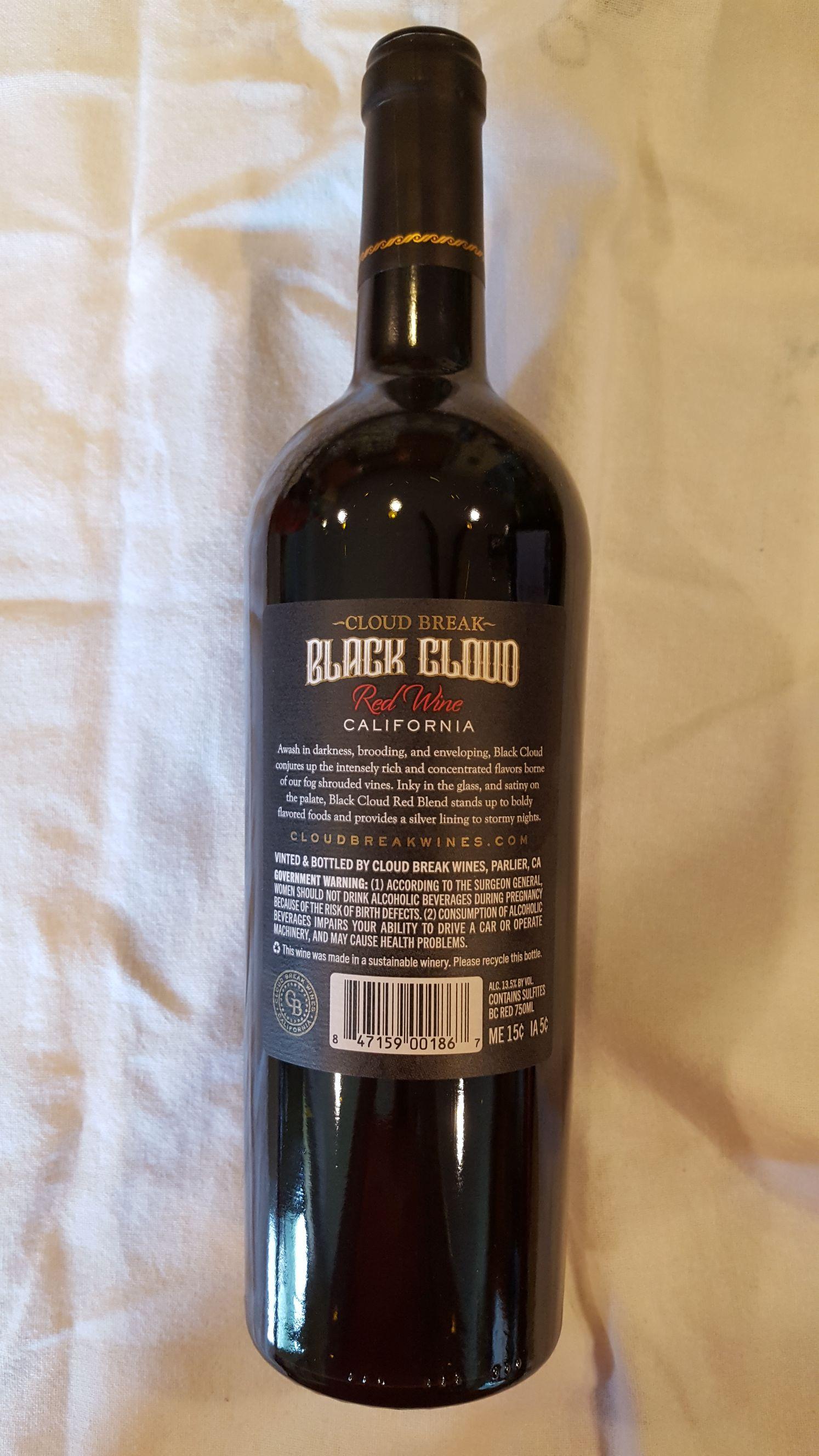 Cloud Break Black Cloud Alcohol - Cloud Break Wines (Red Blend) back image (back cover, second image)