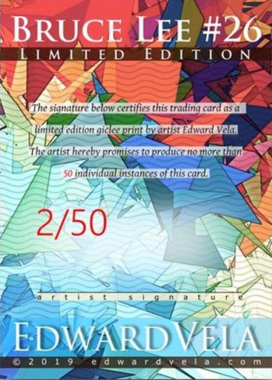Bruce Lee #26 Sketch Card Limited 2/50 Edward Vela Signed Art - Edward Vela (2019) back image (back cover, second image)