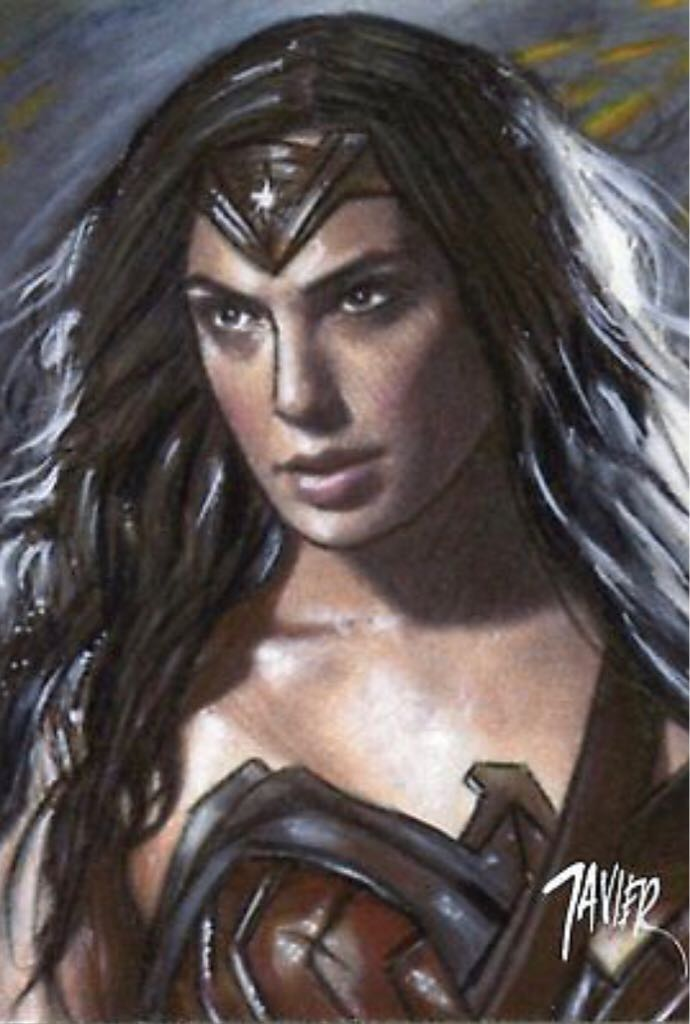 WONDER WOMAN Gal GADOT Justice League LIMITED Ed. SKETCH Card PRINT 1 of 15 ART Art - Javier Gonzalez (2018) front image (front cover)