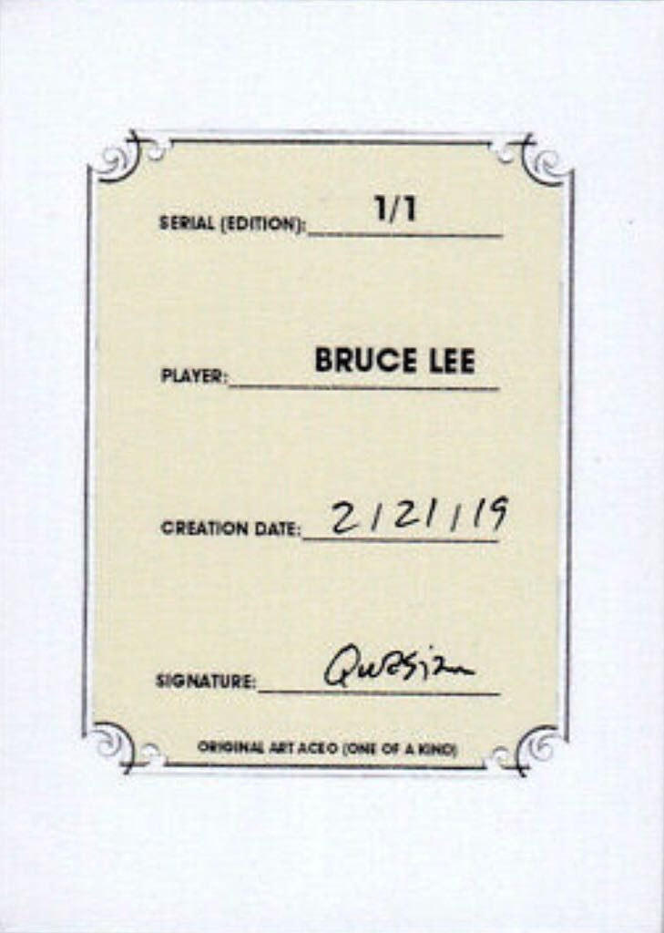 2018 Bruce Lee Karate Martial Arts 1/1 Art ACEO Sketch Print Card By:Q Art - Qwasian (2019) back image (back cover, second image)