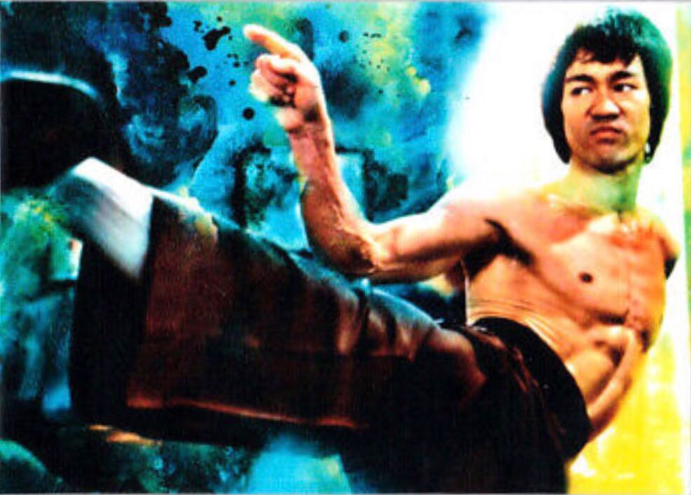 2018 Bruce Lee Karate Martial Arts 1/1 Art ACEO Blue Sketch Print Card By:Q Art - Qwasian (2019) front image (front cover)