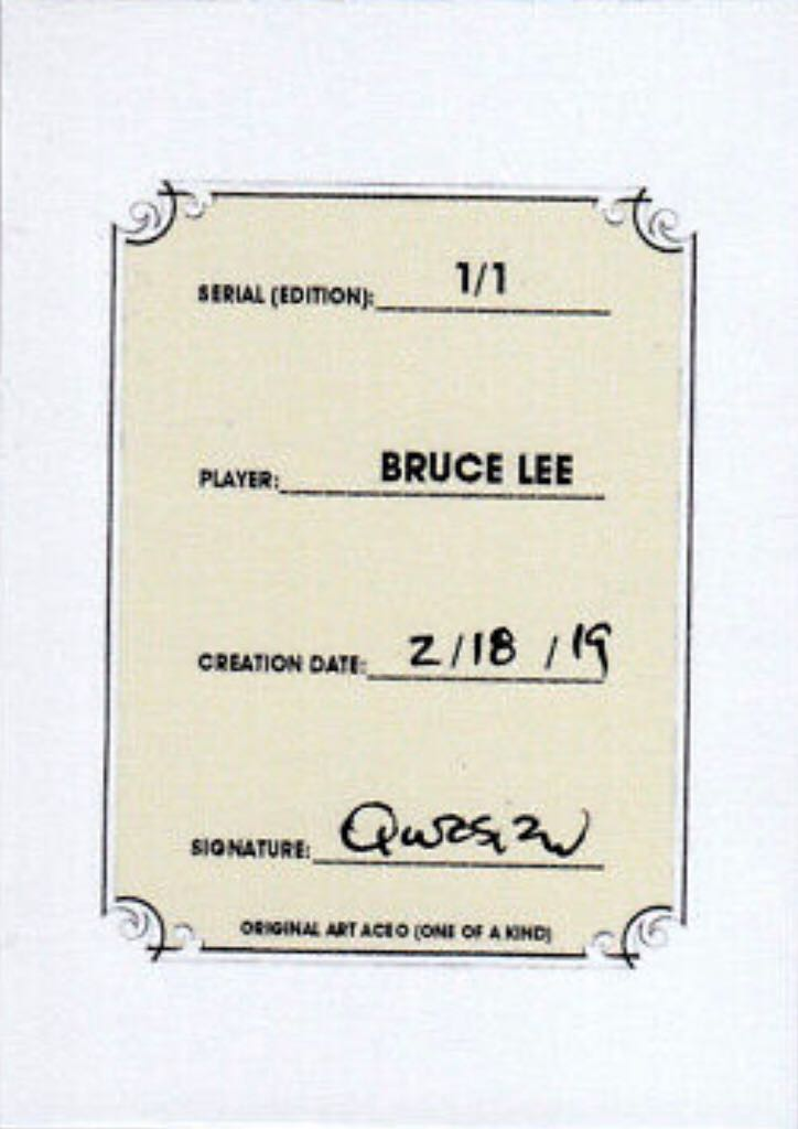 2018 Bruce Lee Karate Martial Arts 1/1 Art ACEO Yellow Sketch Print Card By:Q Art - Qwasian (2019) back image (back cover, second image)