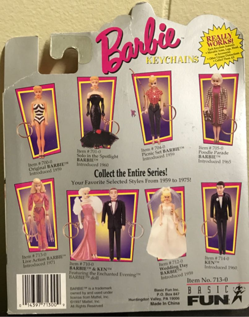 "1995 Basic Fun BARBIE DOLL ""1971 LIVE ACTION"" KEYCHAIN Doll And Barbie - Barbie (1995) back image (back cover, second image)"