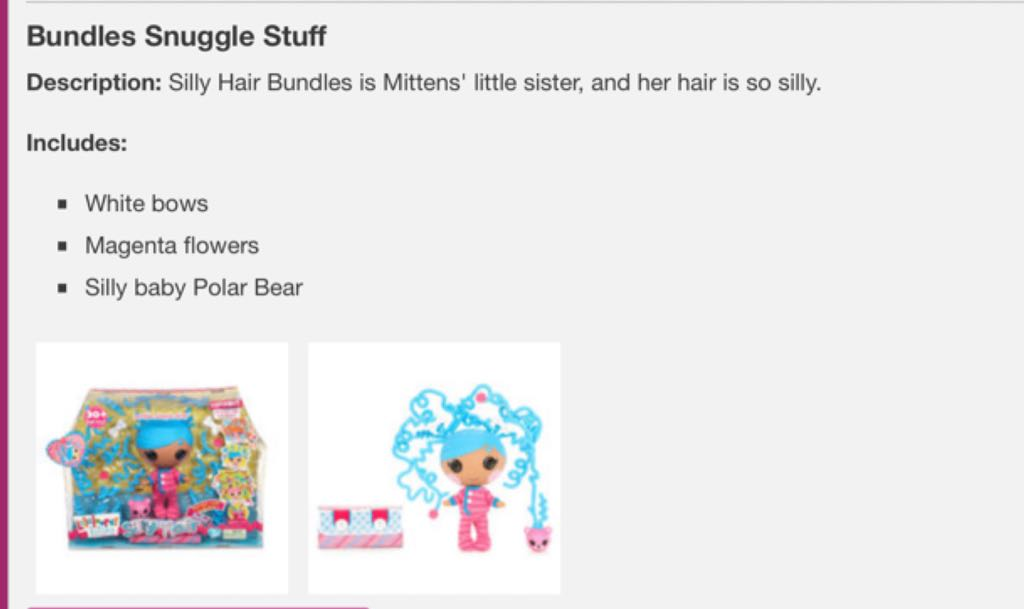 Bundles Snuggle Stuff silly hair Doll And Barbie (2011) back image (back cover, second image)