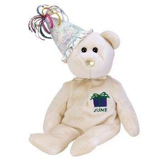 June The Birthday Near (Hat) Beanie Baby - White (4557) front image (front cover)