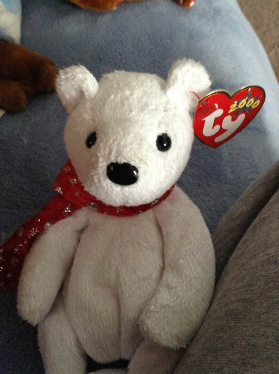 2000 Holiday Teddy Beanie Baby - White (04332) front image (front cover)