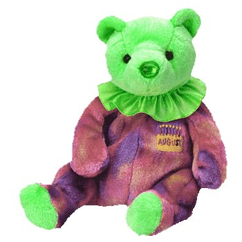 AUGUST the Bear Beanie Baby - Green (4371) front image (front cover)