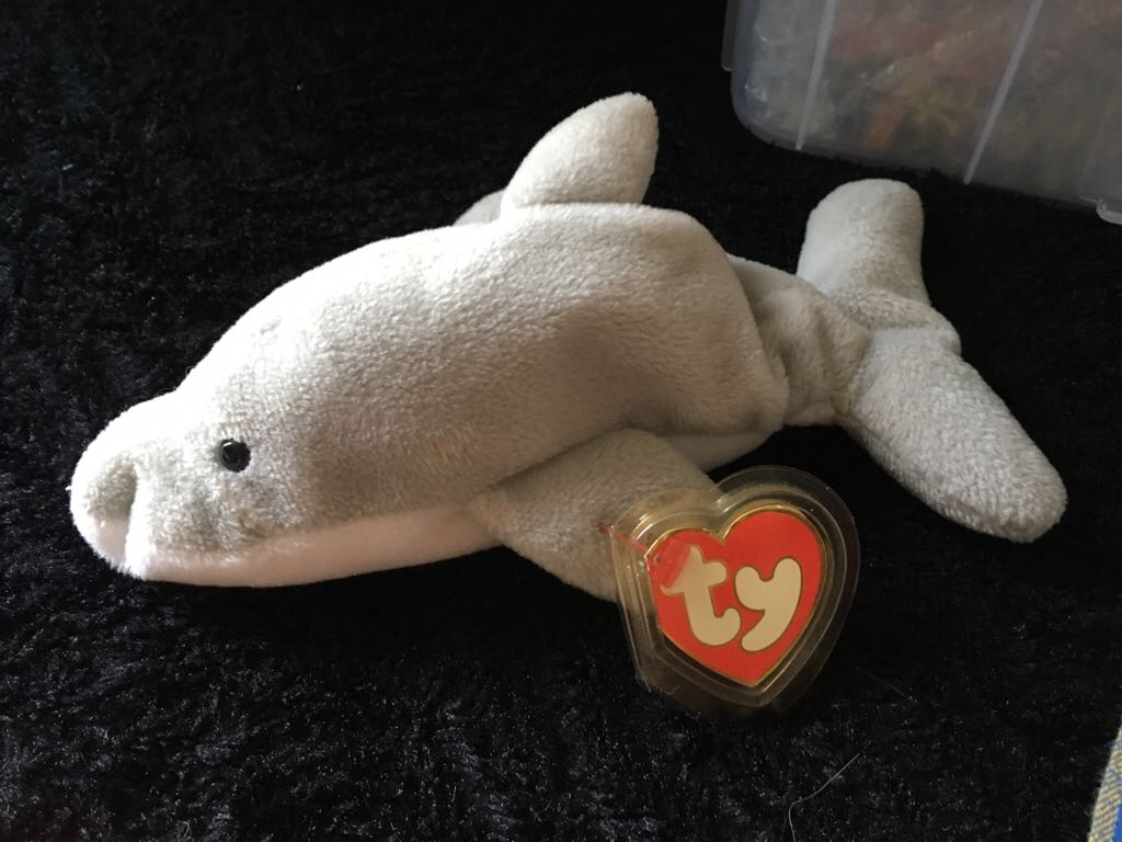 Flash the dolphin Beanie Baby - Gray (4021) back image (back cover 8db5e00479e