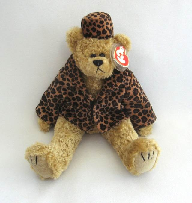 5009f21903d60 Retired Isabella Large Ty Plush Attic Treasure Tan Teddy Bear Leopard Print  Outfit Beanie Baby -