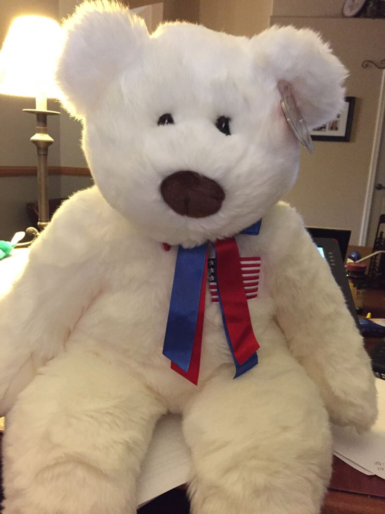 359f938a4a9 Ty Beanie Buddy - Extra Large Liberty The Bear Beanie Baby - White (9042)