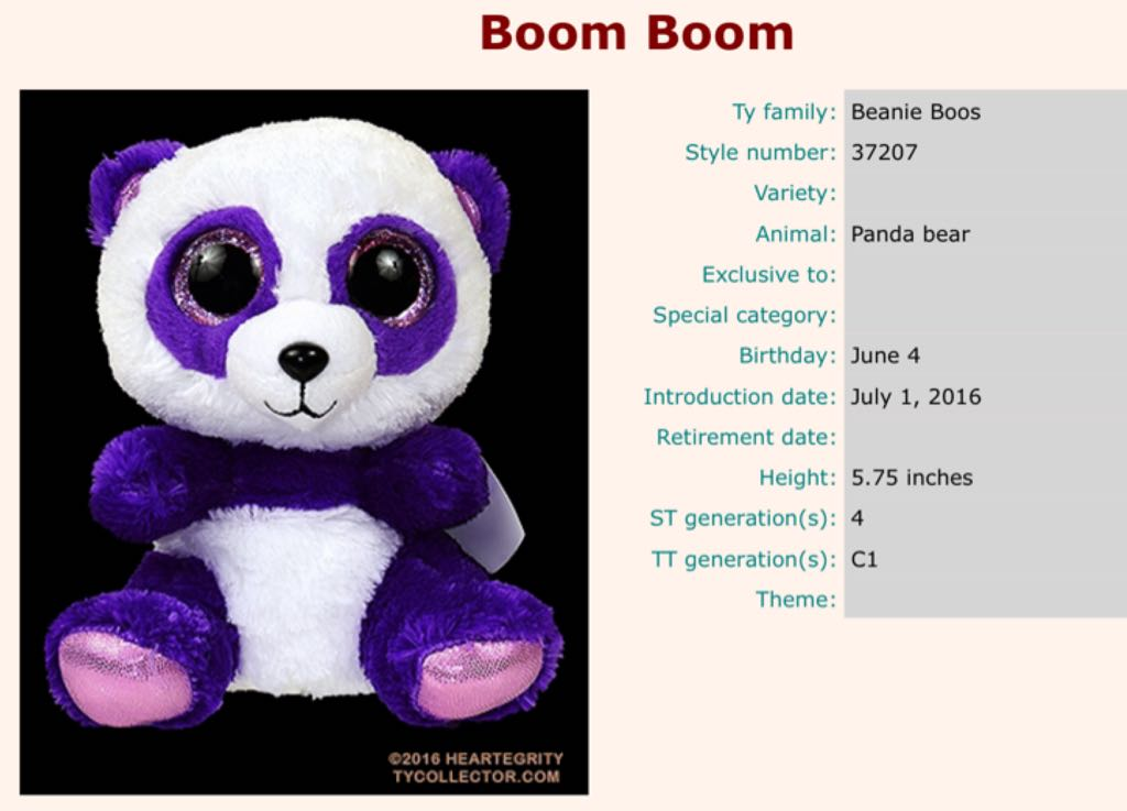 7ea4db85c1f BOOS Boom Boom Panda Beanie Baby - White (37207) - from Sort It Apps