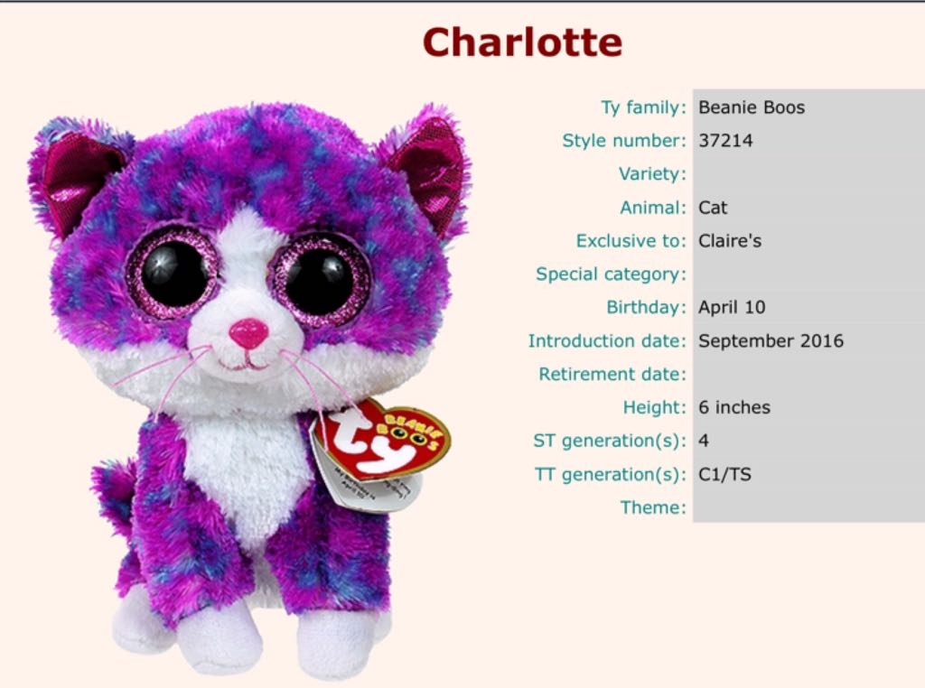 4da5e5ee4e9 Charlotte Beanie Baby - Pattern (37214) back image (back cover