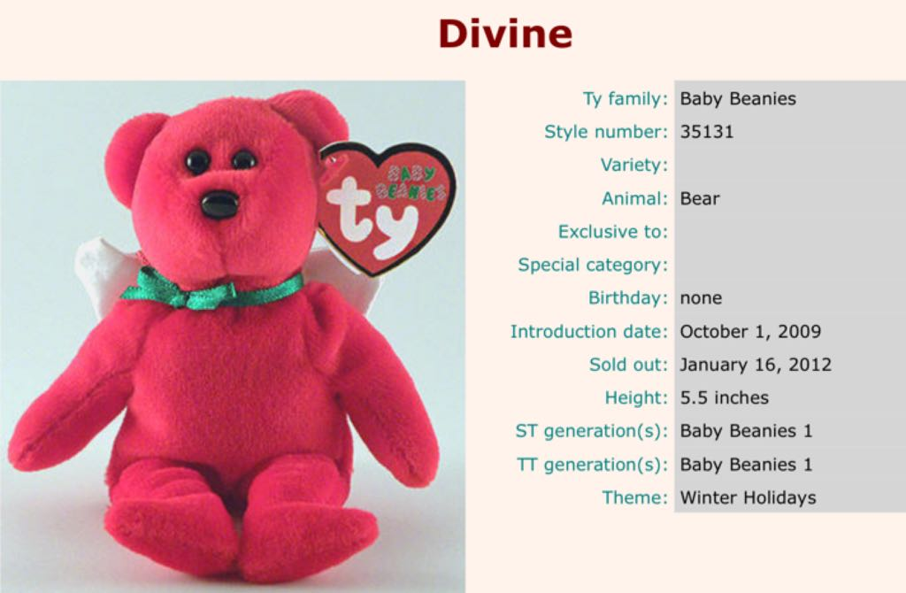 Divine The Angel Bear (Jingle) Beanie Baby - Red (35131) - from Sort ... d02303712c7