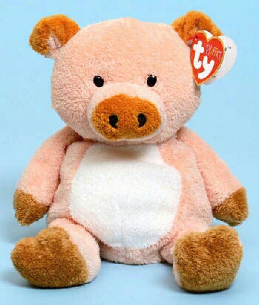 Corkscrew the pig Beanie Baby - Pink (3231) front image (front cover) 58db16e8c9a