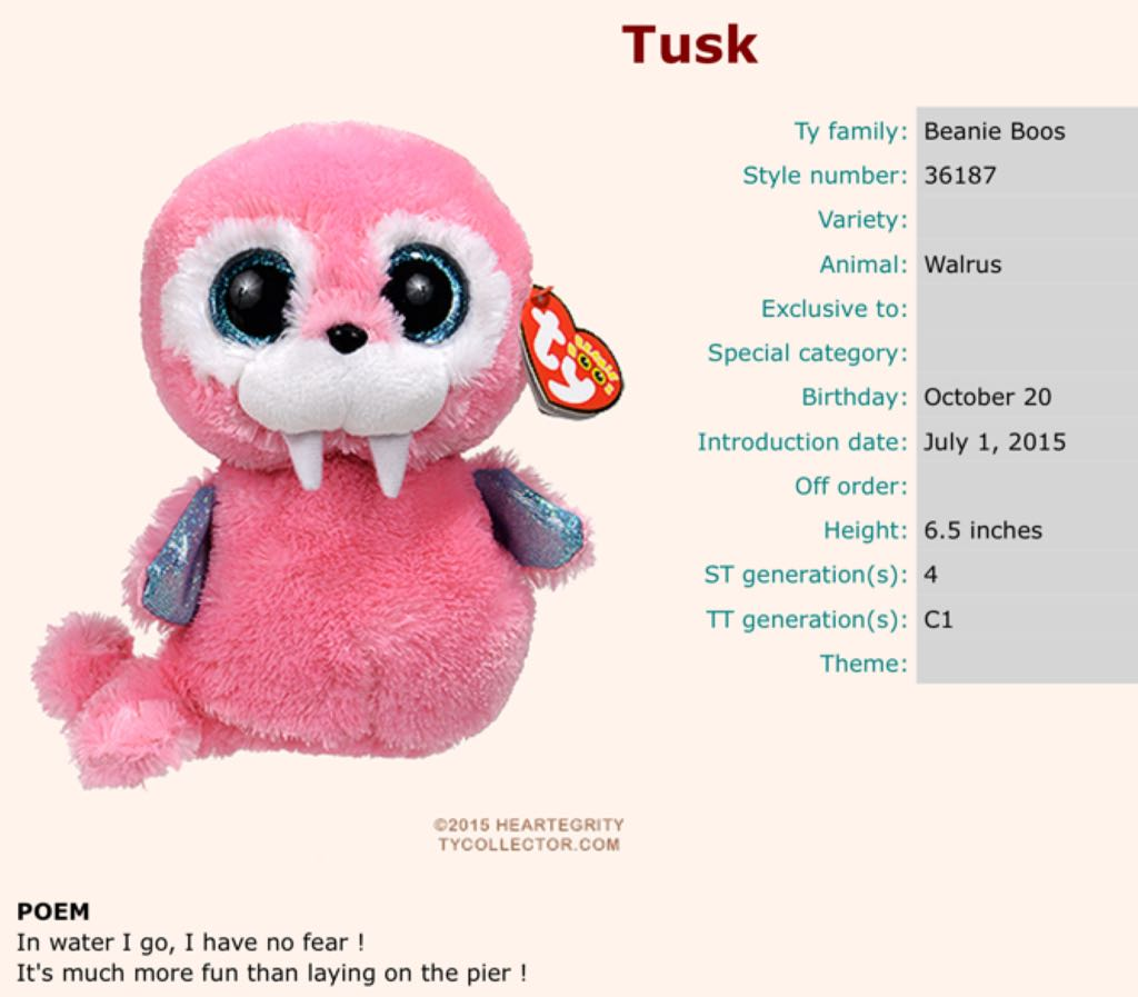 Tusk The Walrus Beanie Boo Beanie Baby - Pink (36187) - from Sort It ... 26cd39c82d0