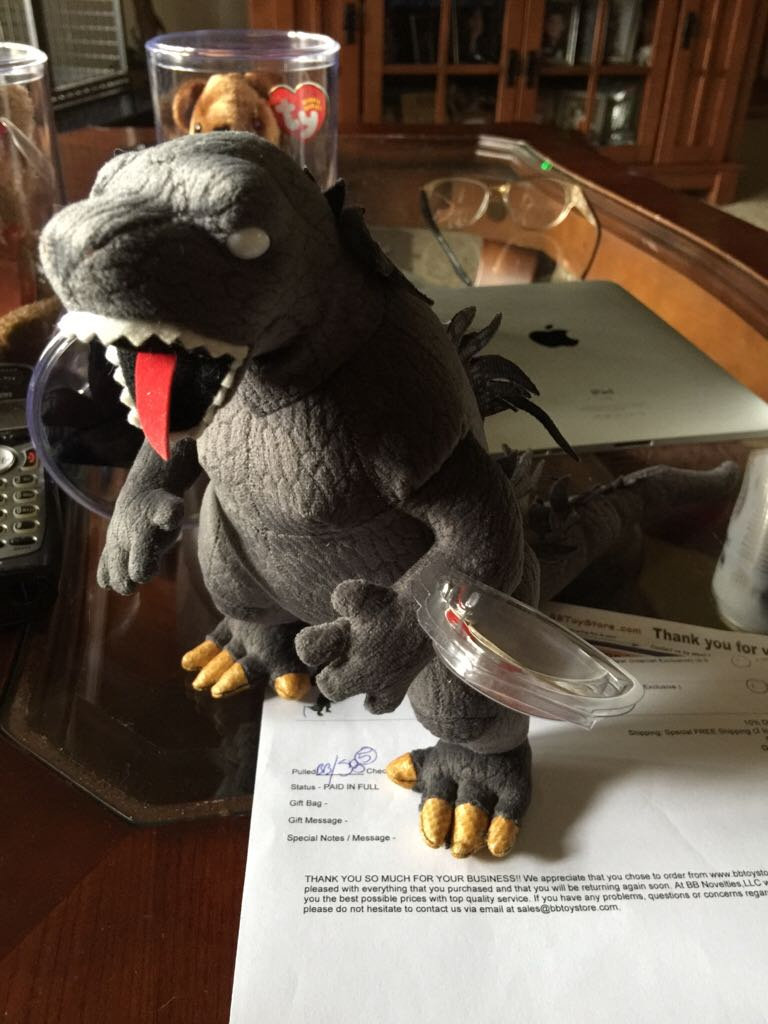 Godzilla White Eye Beanie Baby front image (front cover) 6a64667ddb7