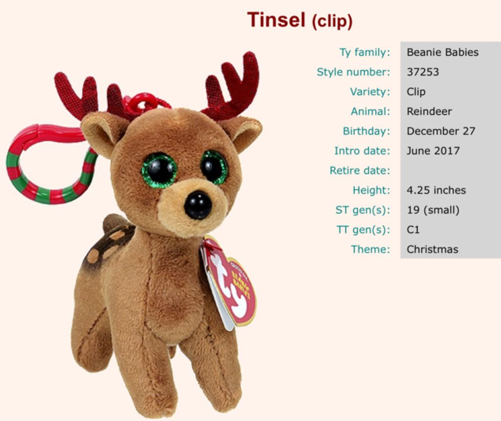 65033c13ae134 Tinsel the Reindeer (kc) Beanie Baby - Brown (37253) - from Sort It Apps
