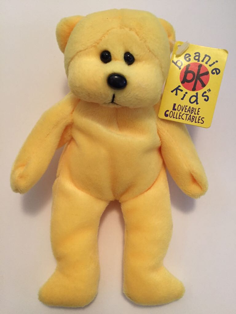 Fizz The Fluoro Yellow Bear 3 Beanie Baby (099) front image (front cover 17a9480f88a