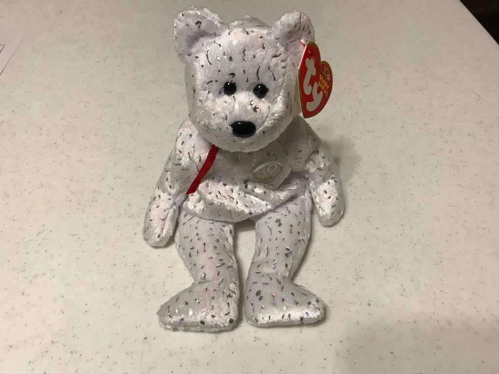 Decade White Bear Beanie Baby - White (4585) front image (front cover)