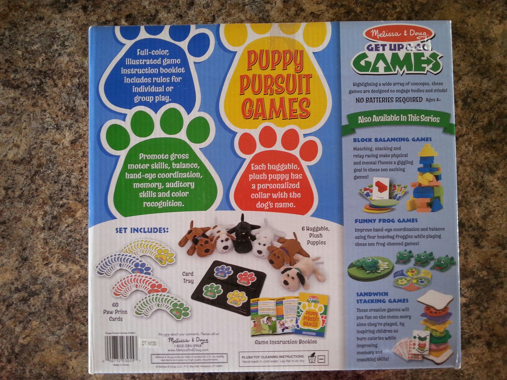 Puppy Pursuit Board Game - Melissa and Doug back image (back cover, second image)