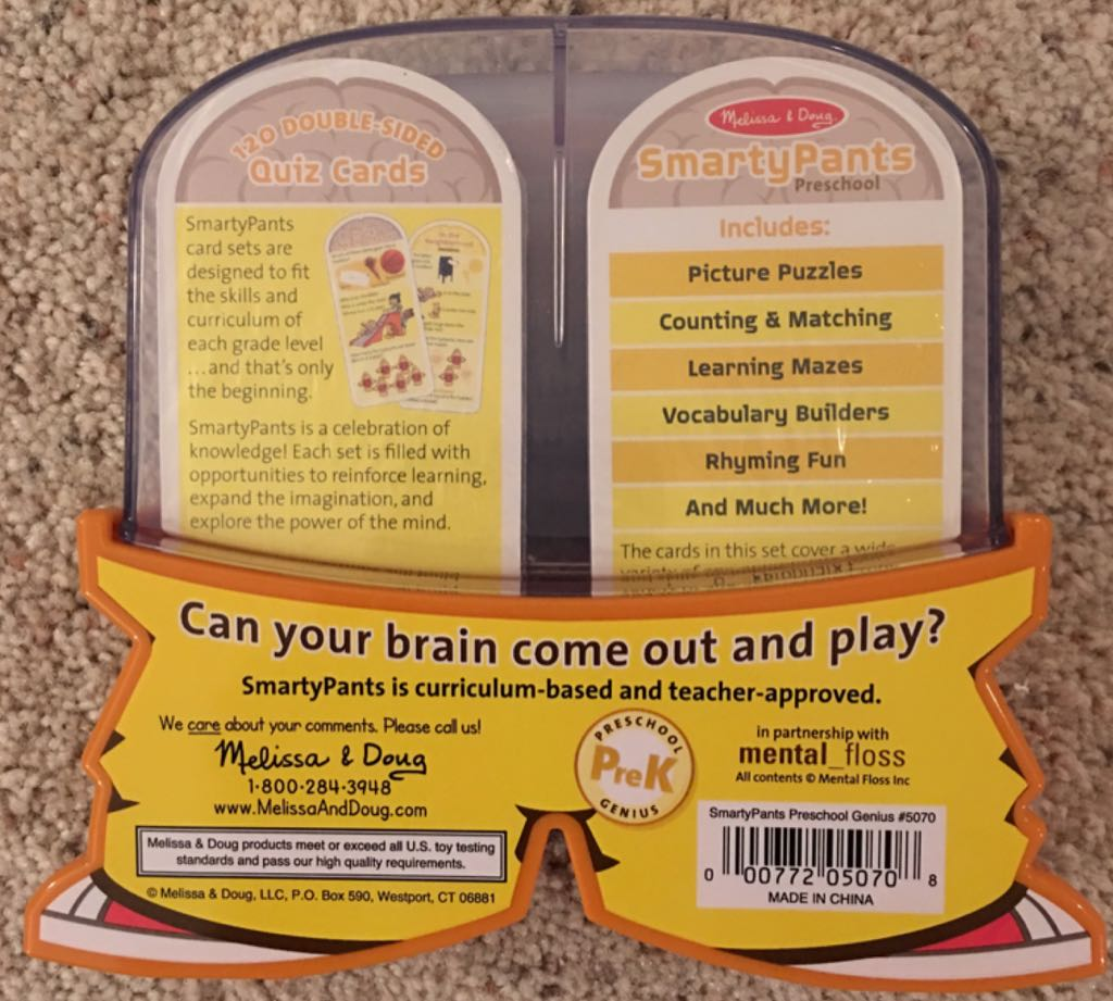 SmartyPants : Preschool Board Game - Melissa & Doug (Children's Game) back image (back cover, second image)