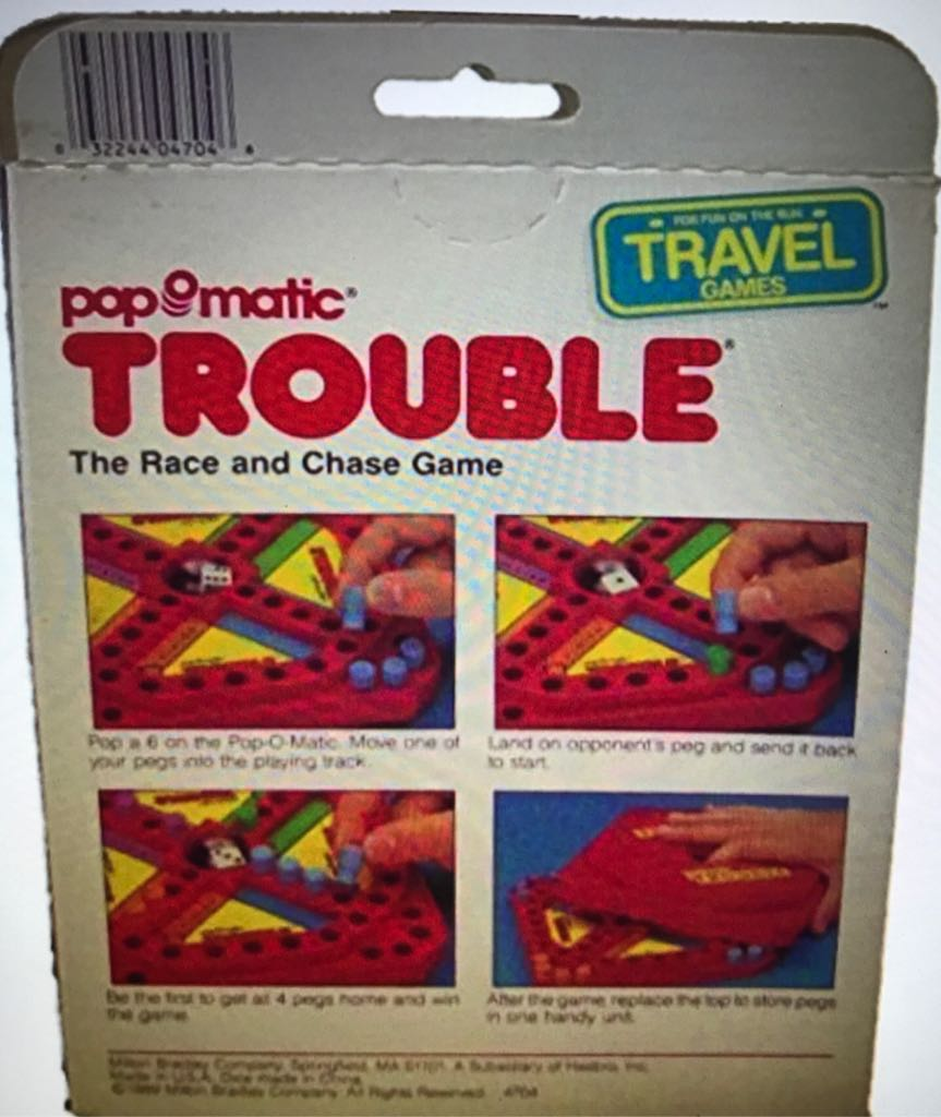 Travel Pop-o-Matic Trouble Board Game - Milton Bradley Co. (Travel) back image (back cover, second image)