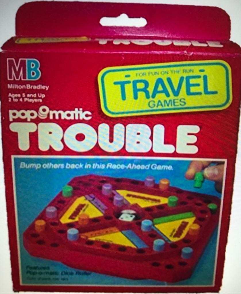 Travel Pop-o-Matic Trouble Board Game - Milton Bradley Co. (Travel) front image (front cover)